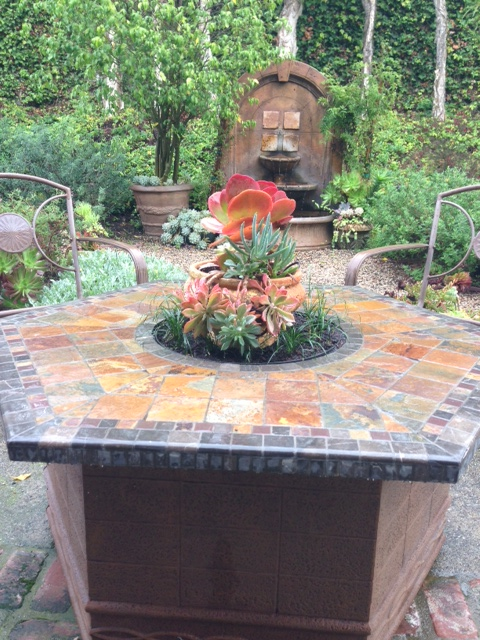 The above ground firepit in front of water feature