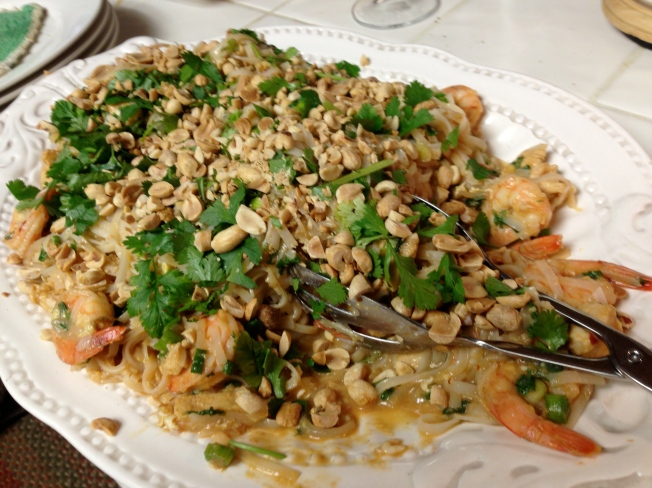 Completed dish with peanuts and cilantro on top
