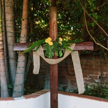 The Groom's family made this cross from wood in their home state of Colorado.